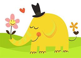 热心的小象(一束鲜花)