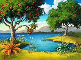 宝石河边的苹果树