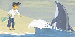 孩子与海豚