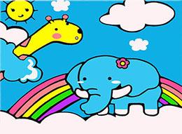 哇!小象背上有彩虹