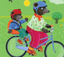 小熊当当坐妈妈的自行车