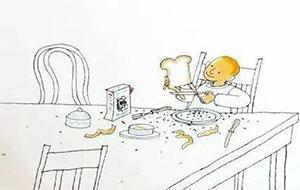 剪面包的男孩