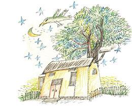 撒满月光的小木屋