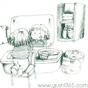 刮胡子的小女孩