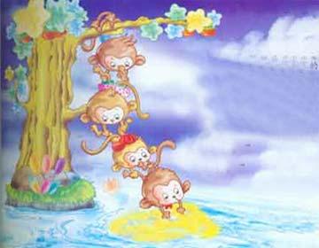 小猴子捞月亮