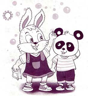 儿童手工制作大全豆子熊猫