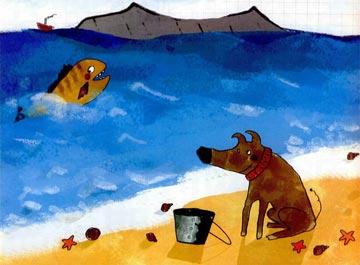 小狗在沙滩上